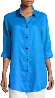 Caroline Rose Plus Size Tissue Linen Boyfriend Shirt