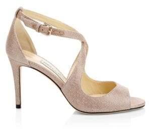 Jimmy Choo Women's Emily Shimmer Suede Sandals - Ballet Pink - Size 36 (6)