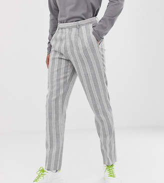 Asos Design DESIGN Tall skinny crop smart pants in grey linen stripe