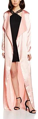 boohoo Petite Women's Satin Duster No Information|#301 Plain Long Sleeve jackets, (Nude), 8
