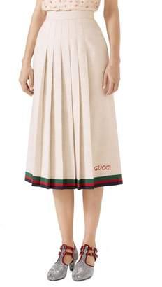 Gucci Pleated Linen & Silk Skirt