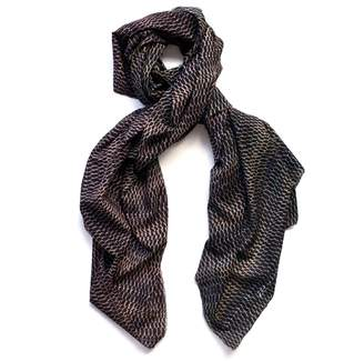 Arlette Ess Fishskin Large Silk Cotton Scarf Charcoal
