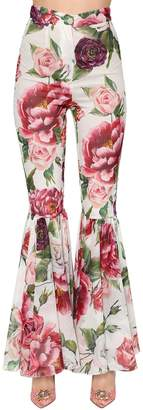 Dolce & Gabbana Floral Stretch Silk Crepe Flared Pants