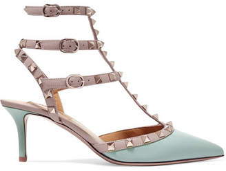 Valentino Garavani The Rockstud Leather Pumps - Gray green