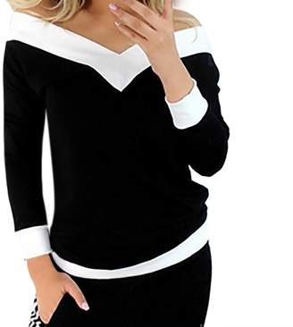 Equipment YANG-YI Clearance, Hot Women Strapless Long Sleeve Off Shoulder T-Shirt Pullover Patchwork Blouse Patchwork Tops (, L)
