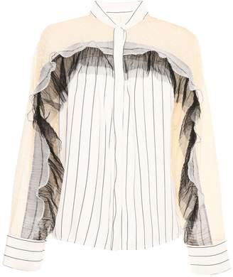 Self-Portrait Striped Shirt With Trim