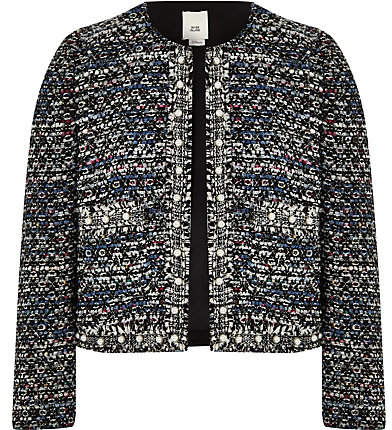 Girls Blue pearl trim boucle jacket