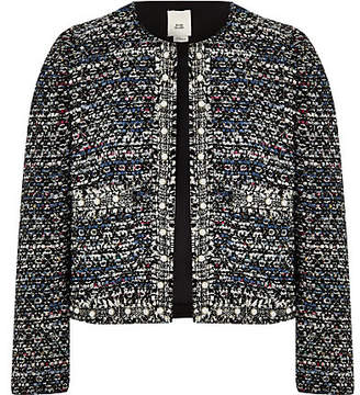 River Island Girls blue pearl trim boucle jacket