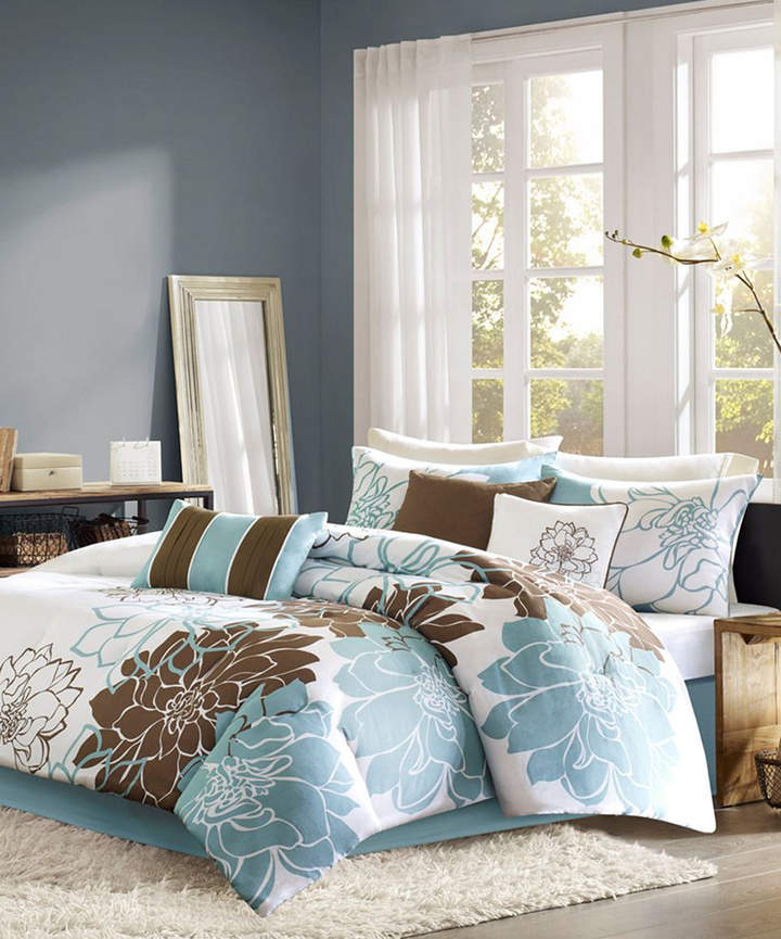 Blue & Brown Elizabeth Cotton Duvet Set