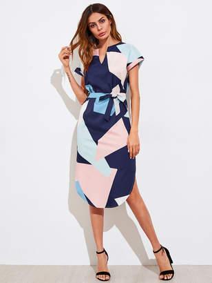 Romwe V Cut Geo Print Slit Side Curved Hem Dress