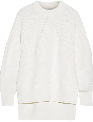 DKNY - Oversized Pointelle-trimmed Merino Wool-blend Sweater - Cream $550 thestylecure.com