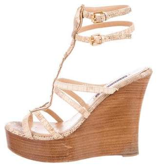 Ralph Lauren Embossed Wedge Sandals