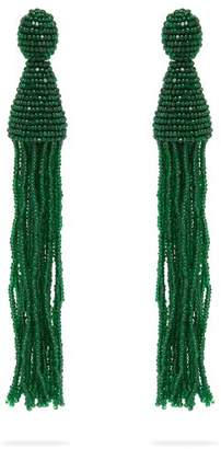 Oscar de la Renta Bead Embellished Tassel Drop Earrings - Womens - Green