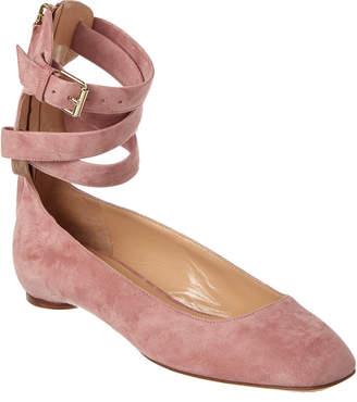 Valentino Suede Ankle Wrap Ballerina Flat