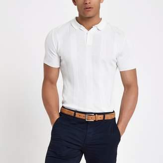 River Island Mens White muscle fit rib polo shirt