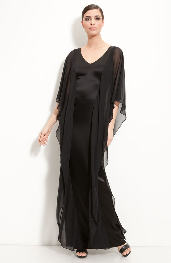 St. John V-neck Satin Gown with Chiffon Overlays