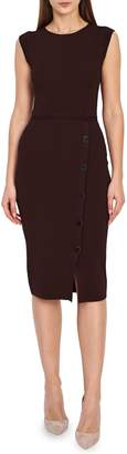 Reiss Sasha Button Detail Stretch Knit Midi Dress