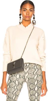 Helmut Lang Distressed Cashmere V Neck Sweater in Light Canvas | FWRD