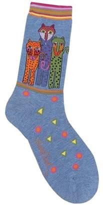 Laurèl Burch Socks-Polka Dot Leopard - Denim