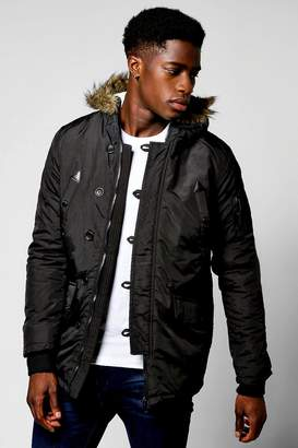 boohoo Black Parka With Faux Fur Lined Hood