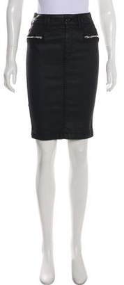 7 For All Mankind Zip-Accented Knee-Length Skirt