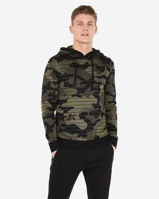 Express Striped Camo Popover Hooded Sweater