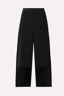 Co Cropped Satin-trimmed Crepe Wide-leg Pants - Black