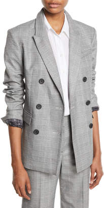 Hamish Double-Breasted Check Blazer w/ Contrast Lining