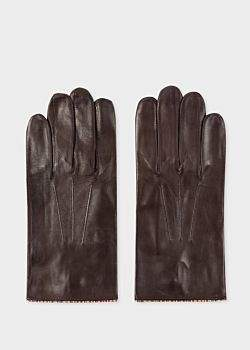 Paul Smith Men's Brown Leather Gloves With 'Signature Stripe' Piping