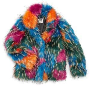 Milly Minis Little Girl's& Girl's Faux Fur Multicolor Jacket