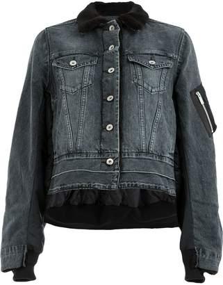 Sacai cropped loose denim jacket
