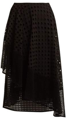 Sportmax Nabulus Eyelet Lace Asymmetric Skirt - Womens - Black