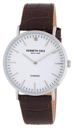 Kenneth Cole New York Men's CZ Accented Croc Embossed Leather Strap Watch, 35mm