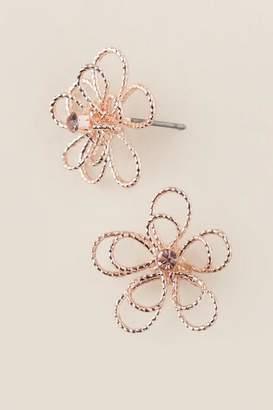 francesca's Fawna Wire Flower Stud Earrings In Rose Gold - Rose/Gold