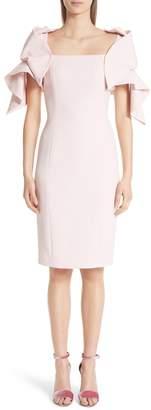 Badgley Mischka Platinum Origami Sleeve Crepe Cocktail Dress