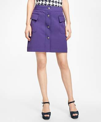 Brooks Brothers Double-Faced Button-Front Skirt