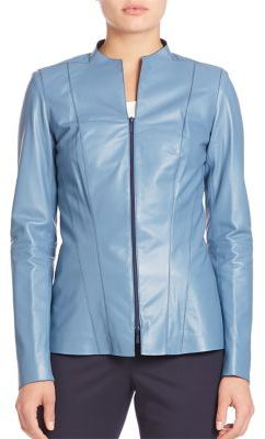 Lafayette 148 New York Tissue Weight Eliza Leather Jacket $998 thestylecure.com