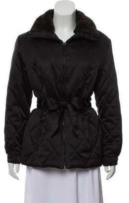 Andrew Marc Faux Fur-Trimmed Quilted Jacket Black Faux Fur-Trimmed Quilted Jacket