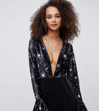 Kiss The Sky velvet plunge body in galaxy print