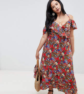 NVME Floral Wrap Front Maxi Dress