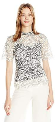 Trina Turk Women's Damita Sakura Blossom Lace Short Sleeve Top