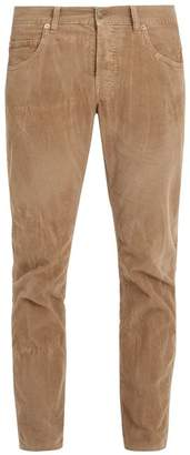 Gucci Bee Embroidered Slim Leg Corduroy Trousers - Mens - Beige