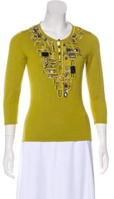 Oscar de la Renta Embellished Cashmere Top