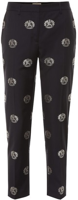 Burberry Embellished mid-rise wool pants