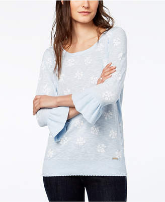 Tommy Hilfiger Printed Cotton Bell-Sleeve Sweater