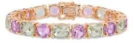 Sonatina Green Amethyst & Rose de France Mosaic Tennis Bracelet
