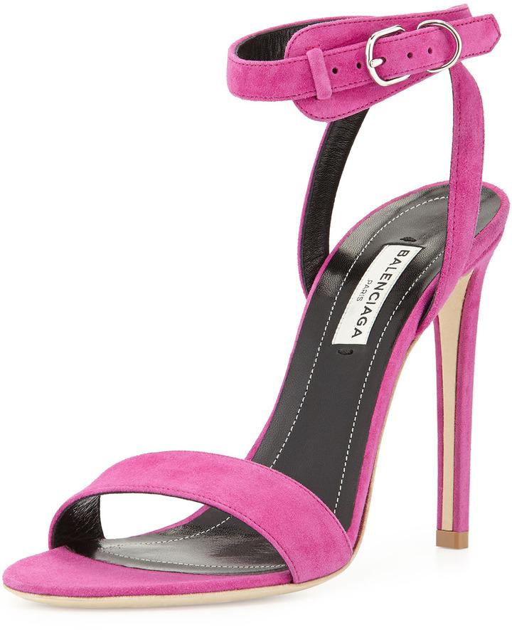 Balenciaga Suede Crisscross Ankle-Wrap Sandal, Fuchsia