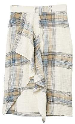 MANGO Ruffled checked skirt