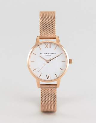 Olivia Burton OB16MDW01 White Dial Midi Mesh Watch In Rose Gold