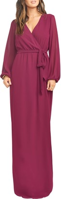 Show Me Your Mumu Babylon Long Sleeve Faux Wrap Gown